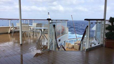 Passengers enjoying the view from the deck of the Braemar, which is heading for Cuba from where pass