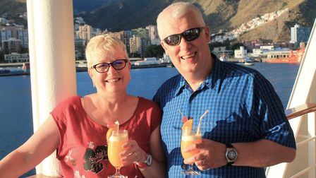 Linda Matthews on holiday last year with husband Paul. The police-officer-turned-artist is hoping to