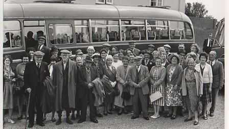 """All aboard for the Chatty Bus … early-1960s style! Mid-Norfolk """"missionaries"""" from Beeston ready fo"""
