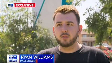 Ryan Williams being interviewed on TV in Australia following incident on plane. Picture: Nine News A
