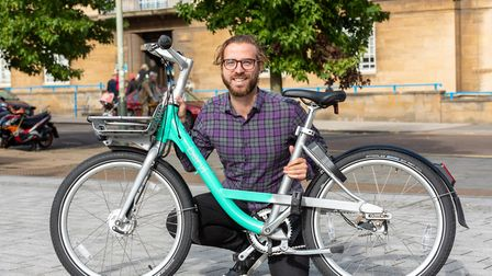 Beryl bikes CEO Phil Ellis at the launch event for the new public cycle operator in Norwich. Photo :