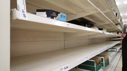 Empty pasta shelves in Sainsbury's on Pound Lane, Norwich, during the supermarket's reserved hour of