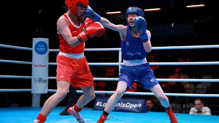 Ireland's Carly McNaul (left) and Great Britain's Charley-Sian Davison compete in the preliminaries