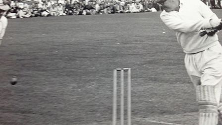 Did he hit it or miss it? Eric Morecambe in full flow at a charity cricket match when they were appe