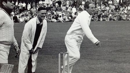 Duck! Ernie Wise in full flow at the same charity cricket match. Can you recognise the chap in the s
