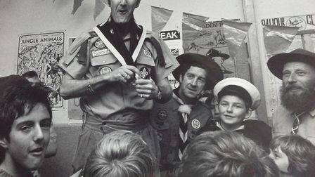 It's only all-round entertainer and funny man Russ Abbot larking about with the scouts troop[ at Bra