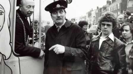 BUTLER! It's Blakey (Stephen Lewis) from the hit show On The Buses behind the wheel is the much-love