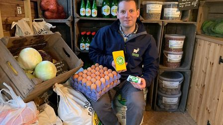 Sam Steggles says his farm shop at Fielding Cottage remains well-stocked with local foods despite th