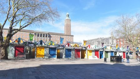 March 22nd 2020 Mothers Day. City is empty due to coronavirus warnings. Gentlemans Walk, Market Pict