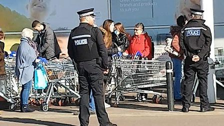 Police outside a Tesco Extra in Great Yarmouth on Sunday (March 22). Picture: Harry Christopher Towe