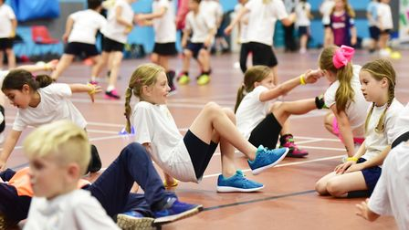 School children enjoy a fitness day to launch the North Suffolk Sport and Health Partnership two-and