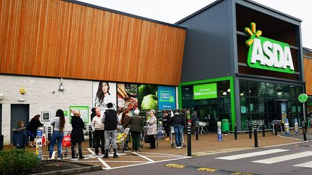ASDA opening at 7am, queues outside from 6am amid Corona Virus. Pictures: ARCHANT