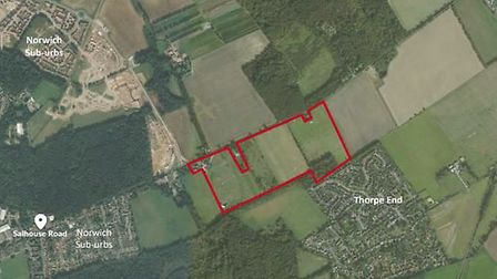 Plans for more than 500 homes have been submitted for a site off Salhouse Road. Picture: Grafik