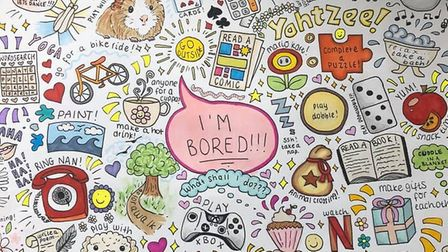 Joanne Jenkins had her daughter draw an idea board for any time her children are bored and need insp