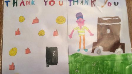 Youngsters have been showing support to the waste servicemen across Breckland. Picture: Breckland Co