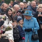 Crowds gathered to greet the Queen when she attended a church service at West Newton in Norfolk Pic