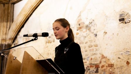 Young Norfolk Laureate Colette Maxwell-Preston performs at the launch of this year's Young Norfolk W