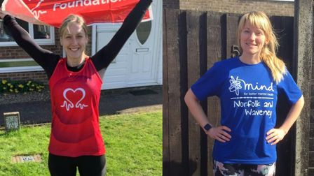 Emily King, left, and Emma Cossey, right, saw their fund-raising half marathons cancelled following