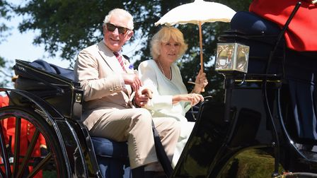 Prince Charles and the Duchess of Cornwall leave the Sandringham Flower Show. Picture: DENISE BRADLE