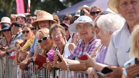 Crowds waiting for Prince Charles and the Duchess of Cornwall at the Sandringham Flower Show. Pictur