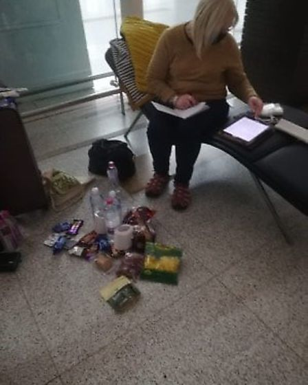 Sue Smith is stranded at Delhi airport. Pic: Claire Gebbett.