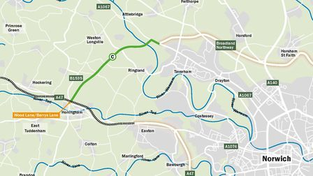 Option C is the county council's preferred route for the Western Link. Pic: Norfolk County Council.