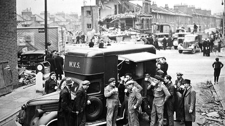 WVS truck in action after a bomb during WW2. 5of6