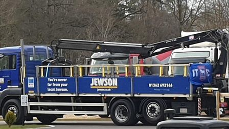 A Jewson lorry that followed the family car to Breckland Crematorium. Picture: Forget Me Not Flowers