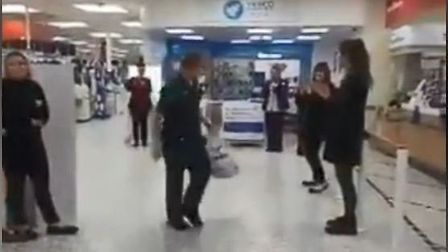 Shoppers clap paramedics at Tesco in Thetford. Picture: Tracy Thomas