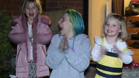 Cat Hussey and her daughters Charlotte, 6, and Danielle, 4, of Attleborough, join in the nation's Cl