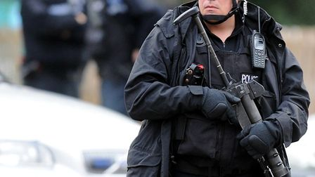 Armed police at City Service, Ber Street, Norwich