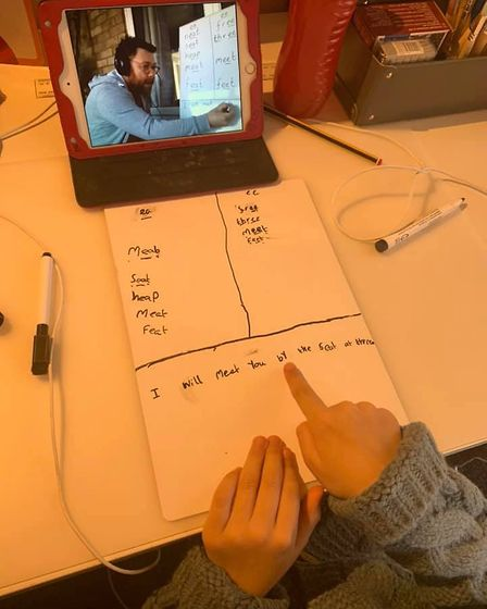 A spelling lesson with English lead teacher Adam Stanton of St Edmunds School in Kings Lynn. Picture