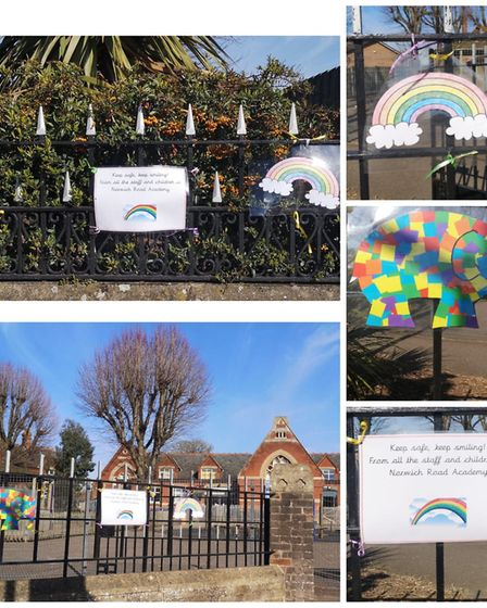 Schools have also been decorating their gates with rainbows including Norwich Primary Academy. Pictu