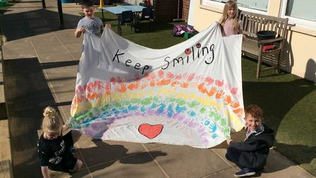 Pupils with rainbow design artwork at Sprowston Infant School. Picture: Norfolk County Council