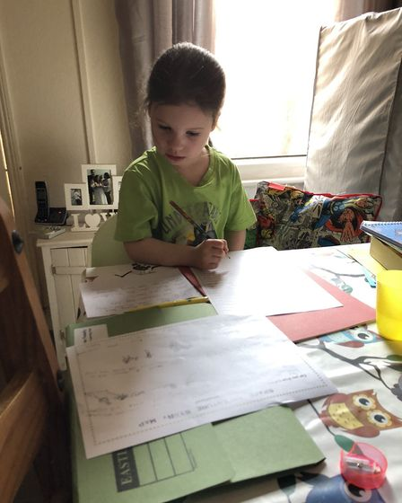 A busy day of home learning. Picture: Sam Fennelly