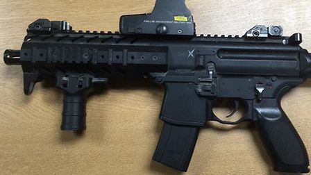 Picture of gun received after man arresred following incident near Claremont Pier in Lowestoft. PIC:
