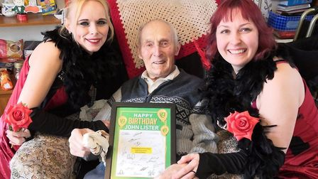 John Lister was sent a card by Norwich City to mark his 101st birthday, pictured here with Thorp Hou