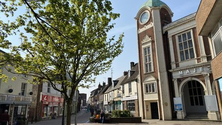 Police, key workers and essential shoppers could be seen in King Lynn's town centre during Easter ba