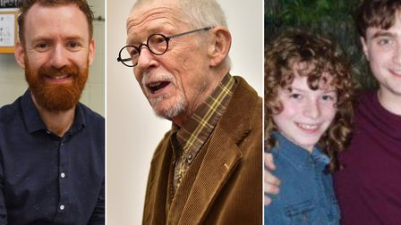 (L-R) Chris Rankin, Sir John Hurt and Rohan Gotobed with Daniel Radcliffe. Picture: Denise Bradley/A