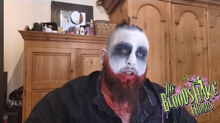 JJ Darby of The Bloodshake Chorus doing a classiz zombie makeup tutorial during his Facebook livestr