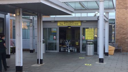The entrance to the new emergency department created at the Norfolk and Norwich University Hospital