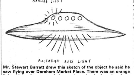 Mr Barrett's sketch of the UFO he saw of Dereham. Date: 20 May 1977. Picture: Archant/Dereham & Fake