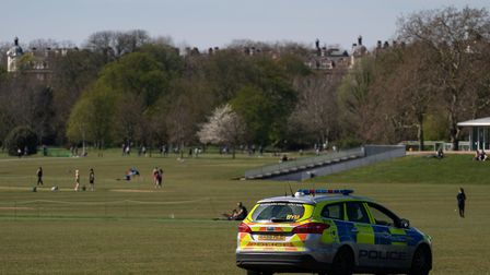 Police presence in Regents Park, London, as the UK continues in lockdown to help curb the spread of
