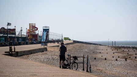 A near deserted Hunstanton beach in Norfolk, as the UK continues in lockdown to help curb the spread