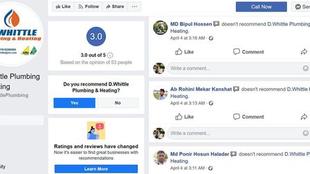 Overnight 25 one star reviews were left on the Facebook page of D Whittle Plumbing and Heating. Phot