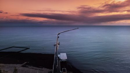 Aerial view of sunrise at beautiful Busselton Jetty in, Western Australia Picture: Getty Images/