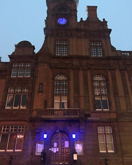 Great Yarmouth Town Hall bathed in blue light to mark the weekly Clap for Carers. PHOTO: Great Yarmo