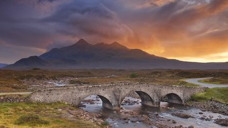 The Sligachan Bridge on the Isle of Skye, with The Cuillin Hills in the background Picture: Getty