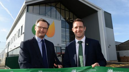 Waveney MP Peter Aldous and project director Charlie Jordan cutting the ribbon at ScottishPower Rene