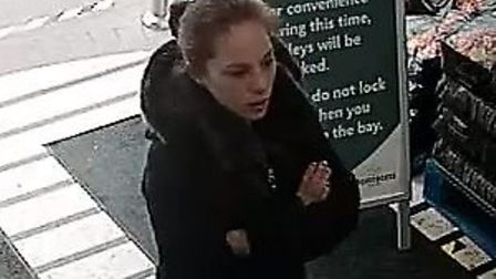 One of the people police want to speak to following thefts at supermarket. PIC: Norfolk Police.